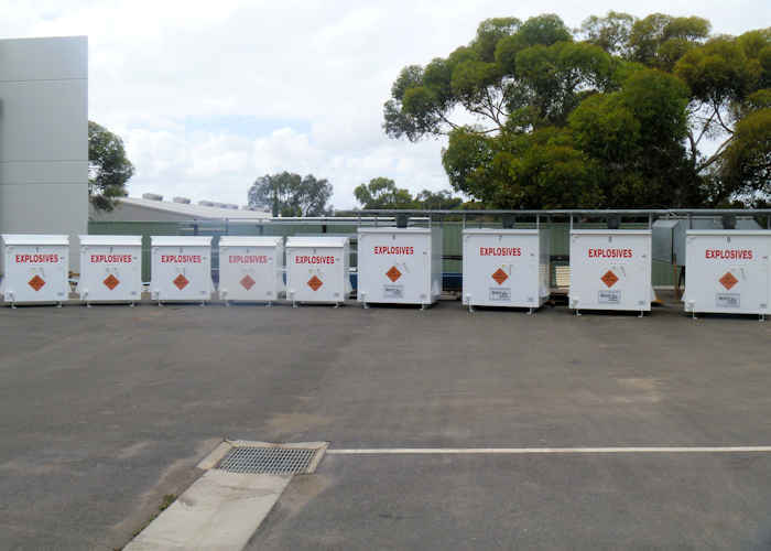 row of Maglok explosives storage magazines